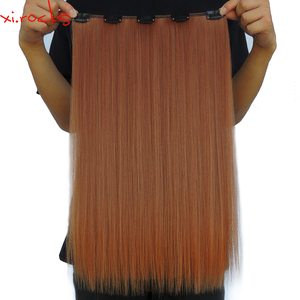 wjlz5050/5 Piece Lot Xi.rocks Synthetic Clip in Hair Extension 20inch Hair Clips Extensions Straight Hairpiece Copper Color 30J
