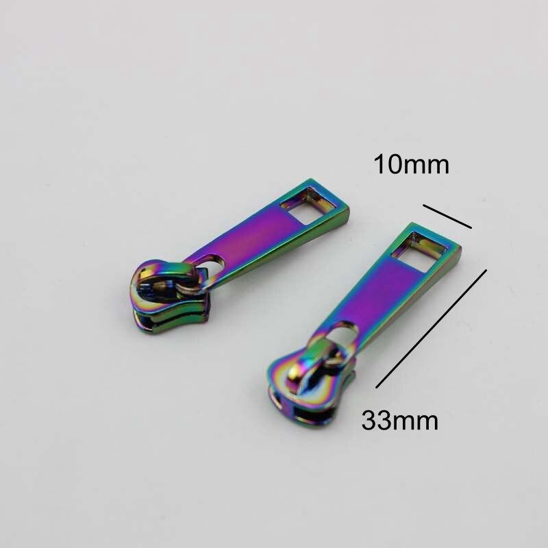 Iridescente plástico zippers para DIY bolsas de couro, roupas de costura