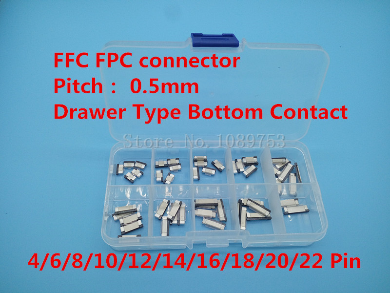 50pcs FFC FPC connector 0.5mm 4/6/8/10/12/14/16/18/20/22 Pin Drawer Type Bottom Contact Flat Cable Connector Socket Sets spare parts for laser machine 600 400mm complete kit for diy co2 laser
