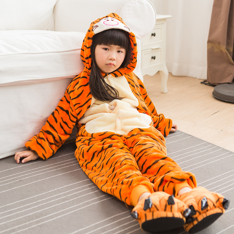 Boys Jumpsuit Flannel Thickening Girl Casual Wear Tiger Cartoon Animal Piece Children Romper Parent-child Home Clothing