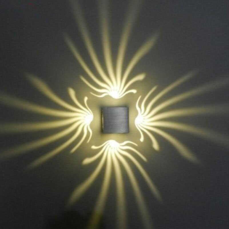 Modern LED Wall lamps square Aluminum 3W LED Ceiling Lamp Home Lighting Interior KTV/Bar Decoration Wall Lamp
