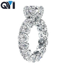 QYI 925 Sterling Silver Luxury Jewelry Ring Women's 4 Carat Round Cut Premium SONA Stone Is Very Shiny Fashion Engagement Ring