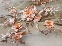 3d flower Nigerian Lace Fabrics 2018 High Quality Lace African Cord Lace Fabric Peach French Tulle Lace Fabric For Wedding Dress