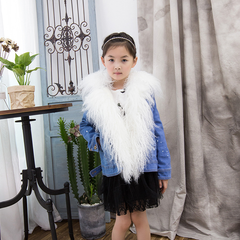 New Girls Winter Jackets Denim Rabbit Fur Coat Children Warm Outerwear Parkas Natural Raccoon Fur Baby Girl Clothes TZ213 winter kids rex rabbit fur coats children warm girls rabbit fur jackets fashion thick outerwear clothes