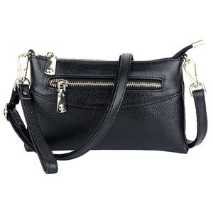 Image 3 - Luxury Zipper Blue/Red/Black/Gray Clutch Women Messenger Handbags Genuine Leather Women's Shoulder Purse Fashion Small Bags