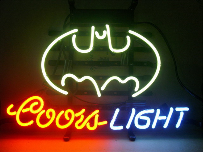 NEON SIGN For COORS LIGHT BATMAN Signboard REAL GLASS BEER