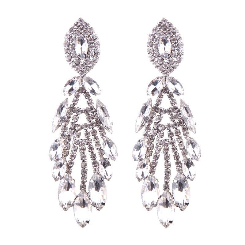 MYDANER New Arrival Luxury Crystal Long Dangle Earrings for Women Girls Holiday Gift Boho Tassel Statement Pendant Drop Earrings