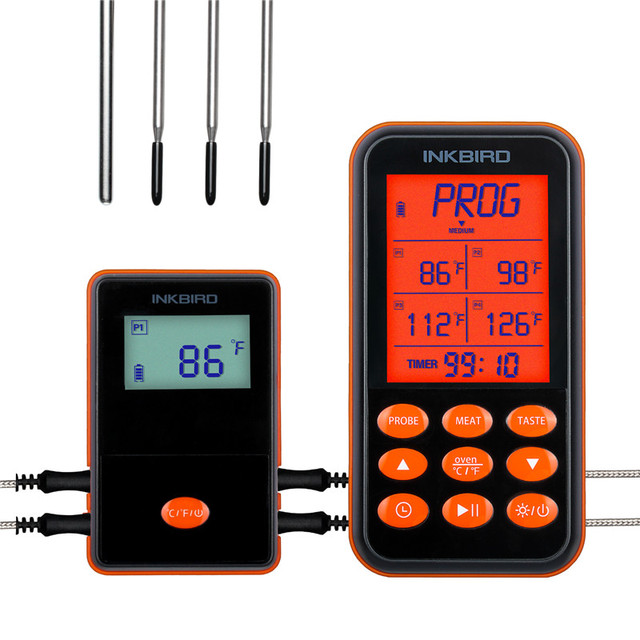 Inkbird IRF 4S Four Probes Remote Wireless Waterproof Grill Thermometer , 1000 Feet Signal, USB Charging Cable Orange