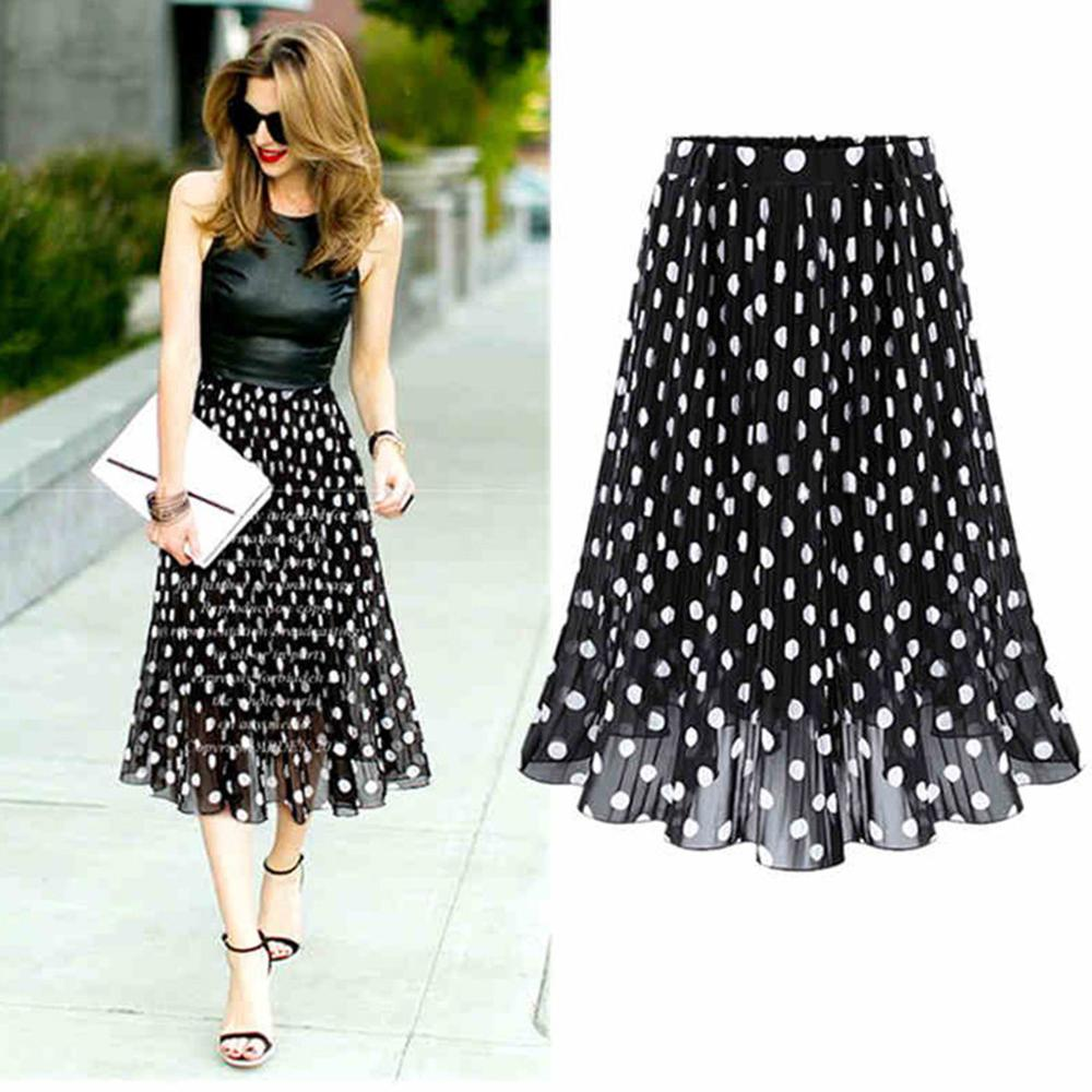 Womens Polka Dot Pleated High Waist Midi Skirt Flared Skater Swing Holiday ladies Casual wear 2020 New Hot Sale AD