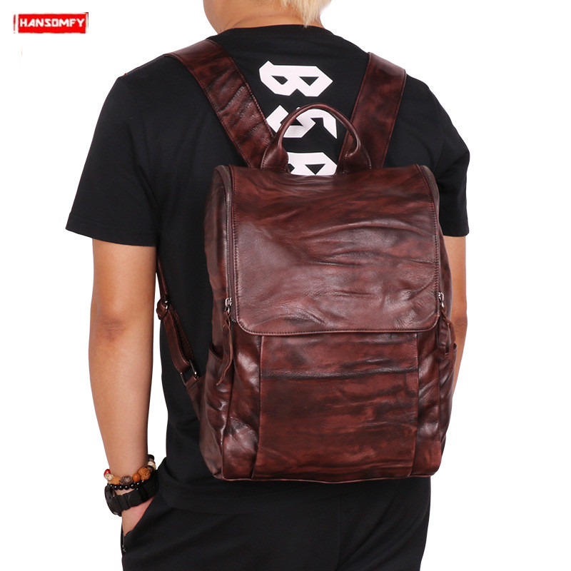 2019 New Outdoor leisure mens backpack vegetable tanned leather retro men shoulder bag vintage travel 15 computer backpacks2019 New Outdoor leisure mens backpack vegetable tanned leather retro men shoulder bag vintage travel 15 computer backpacks