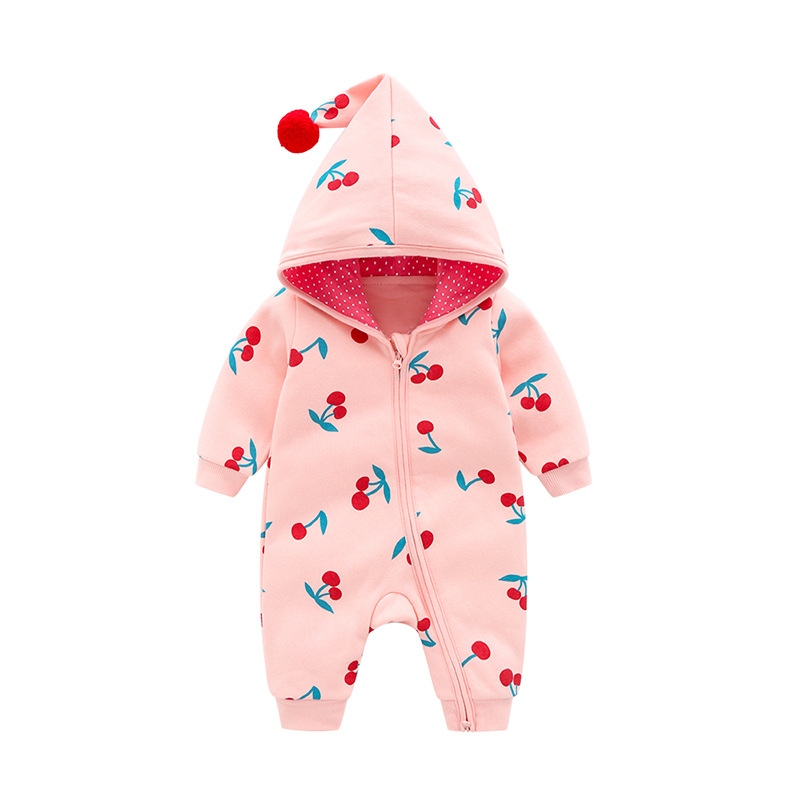 f0854130d Autumn And Winter Body Hooded Cute Girl Rompers,cotton Sweatshirt Cherry  Printed Unisex Baby Clothes Jumpsuit For Boys-in Rompers from Mother & Kids  on ...
