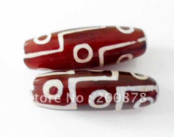 TSB0119 Тибетский 9 глаз Сердолик дзи бусины, 40 мм, красный белый Сердолик дзи свободные бусины, лучшее предложение, 10 бусин Лот