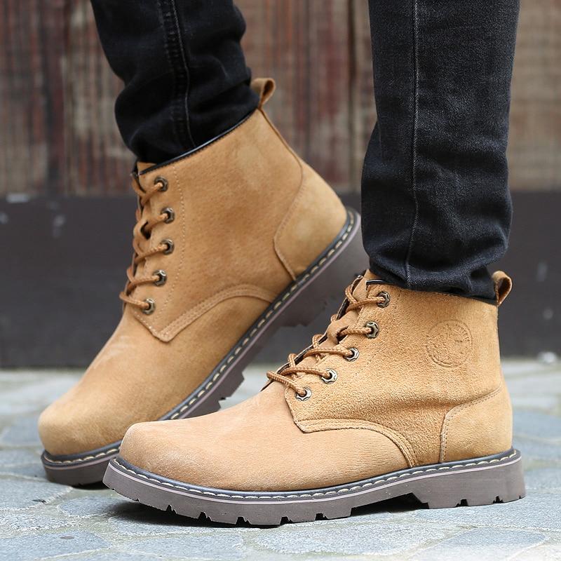 Chaussures de sécurité pour hommes respirant daim Martin bottes hommes tendance britannique outillage chaussures en caoutchouc semelle extérieure hommes Vintage bottes décontracté - 5