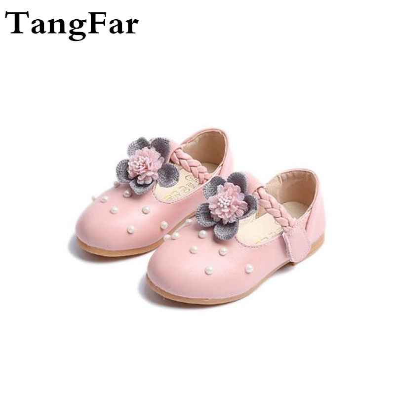 Girl Princess Shoes Pearl Flower Soft Baby Shoes Girl Fashion Shoes Size 21-30 Leather Vogue Non-slip Pointed Toe Sandal