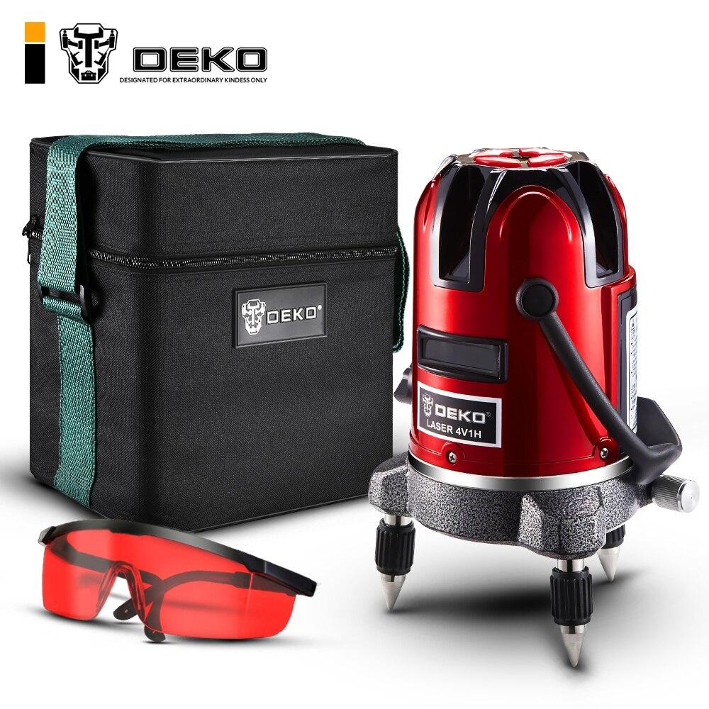 DEKO LL57 5 Lines 6 Points Laser Level Automatic Self Leveling Vertical Horizontal 360 Tilt Outdoor