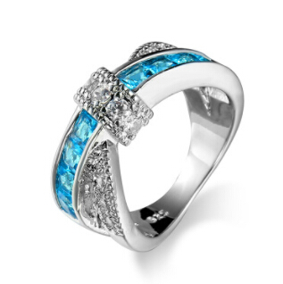 HOT FASHION Luxury Hot Princess Women Wedding Engagement Ring Cross Finger Ring For Lady Colorful