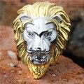 1 pc! Ouro grande leão anel aço inoxidável 316L fresco homem rei leão anel