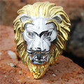 1pc!! Golden Big Lion Head Ring 316L Stainless Steel Cool Man Lion King Ring