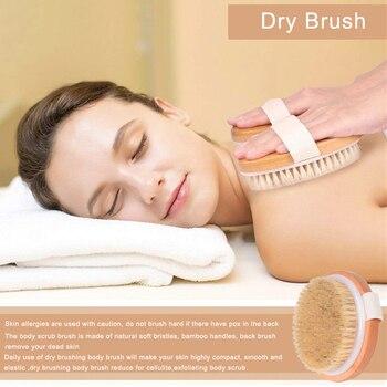 TREESMILE Natural bristles Bath brush Body Maasage No Handle Bath Brush Body Exfoliating SPA Hot Dry Skin Body Wooden Dry Brush 5
