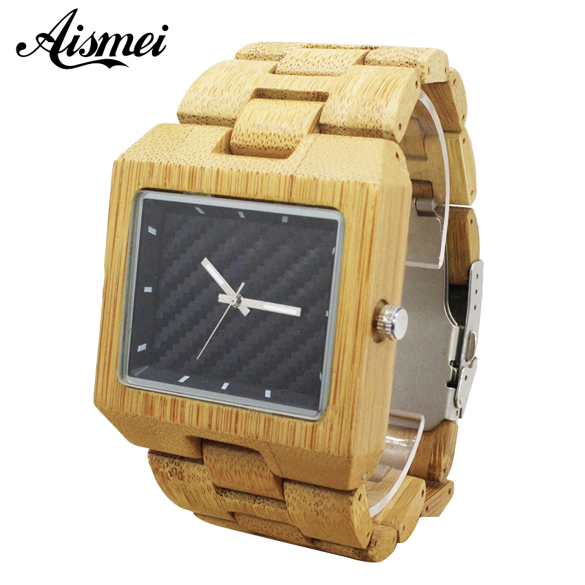 2018 Wood Watch Men Vintage Square Quartz Business Wristwatch Wooden Band relojes hombre Bamboo Watches male relogio masculino