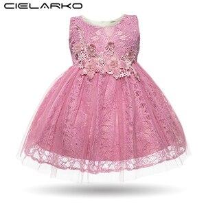 Cielarko/платье для маленьких девочек; кружевное праздничное платье принцессы на крестины; Белые Платья с цветочным рисунком для младенцев; оде...