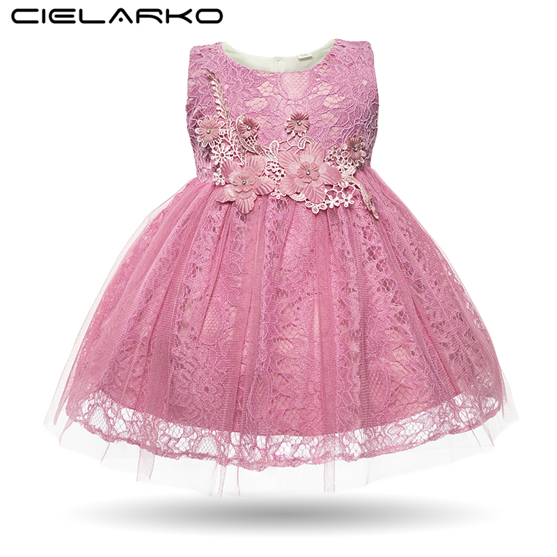 Cielarko Baby Girl Dress Lace Princess Party Christening Gowns White Infant Flower Dresses Toddler Wedding Clothing for Girls auswind antique 304 stainless steel square base black towel ring wall mount towel bar vintage bathroom hardware set