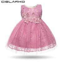 Cielarko Baby Girl Dress Infant Sleeveless Flower Lace White Wedding Party Dresses Toddler Vintage Princess Girls