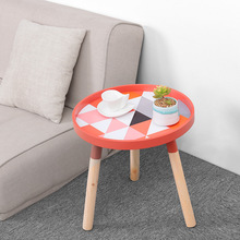 Nordic modern minimalist round living room tea tray table creative solid wood coffee table  multi-function mini sofa side table