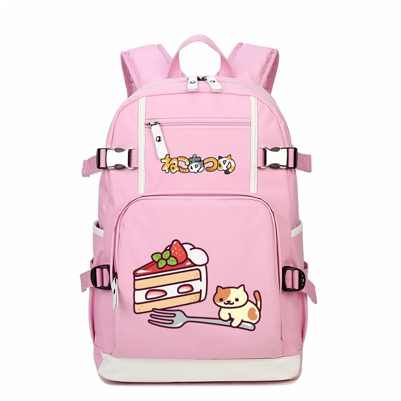 High Quality 2018 Neko Atsume Dessert Printing Backpack Laptop Backpack Kawaii Cat PINK Bag Canvas School Bags for Teenage Girls brand flower printing school bags for teenage girls backpack women bag laptop backpack high quality back pack mochilas feminina