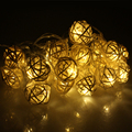 16FT 5m 20 Rattan Ball Led string Light Christmas AC220V Garden Holiday Pendant Garland Wedding Decoration Fairy Lights Parties