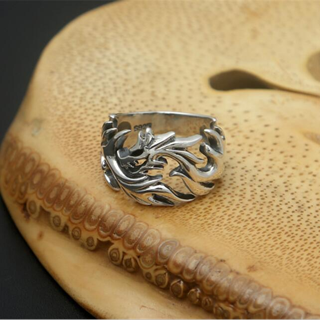 Solid Silver 925 Mens Ring Cuting China Dragon Cuff Band Gothic Punk Style 100% Real 925 Sterling Silver Jewelry Men Cool Bijoux solid silver 925 vajra pendant charms for necklace men real 925 sterling silver jewelry gothic punk style thai silver bijoux men