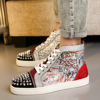 OLOME High Cut Red patent leather cl Mixed Colors glitter Lace up Red bottoms shoes For Man Sneakers Leather Loafers Footwear
