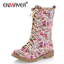 ENMAYER Autumn Winter keep warm canvas boots, cow muscle,womens fashion printed flowers Vintage Lace Up Flat BOOTS