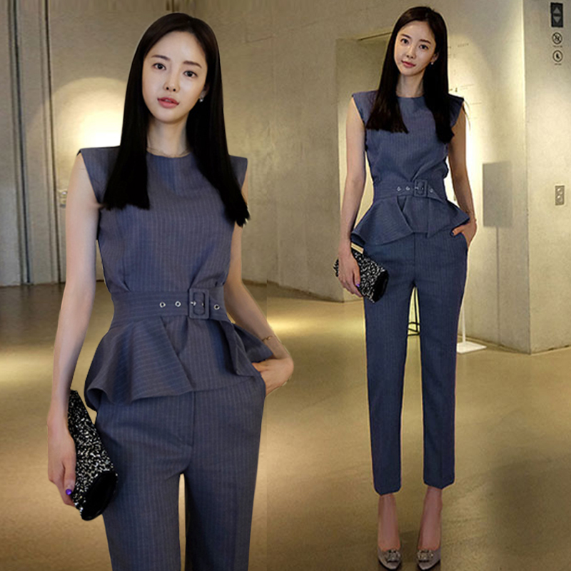 Women Business career suit V Neck Top + Pants 2 piece sets Of New Autumn Suits Female Boom Leggings Trousers OL Fashion Slim Set