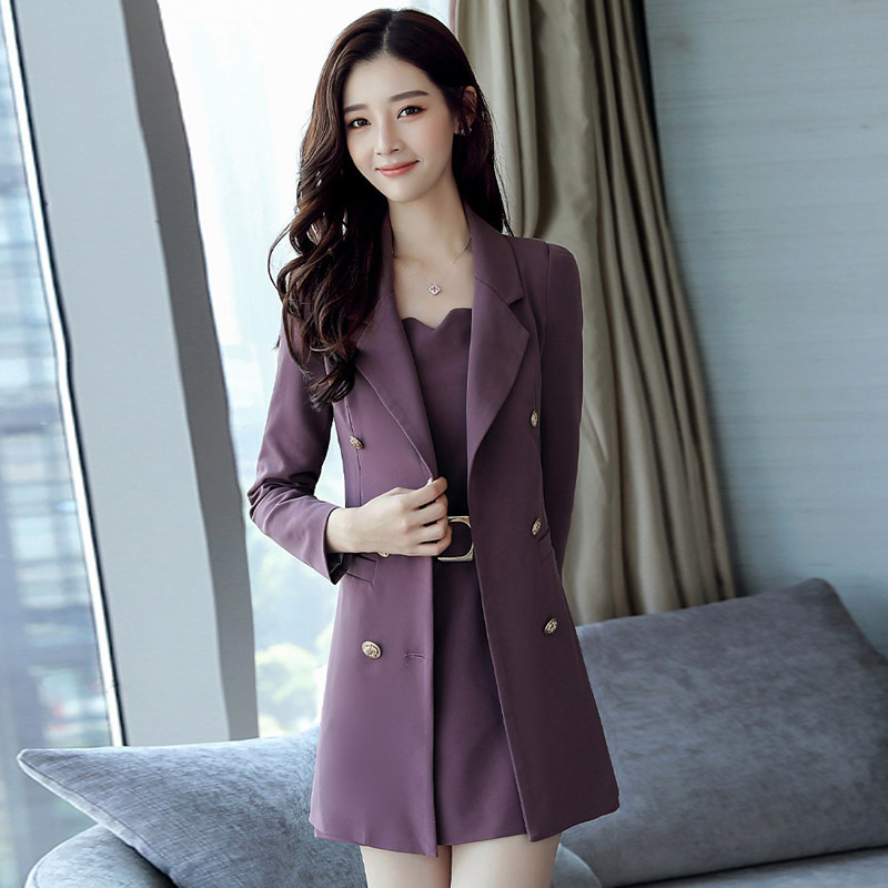 2019 Autumn Office Ladies Suits Plus Size Dress Slim Package Hip Vest Skirt Long-Sleeved Dress Two-Piece Women Free Shipping
