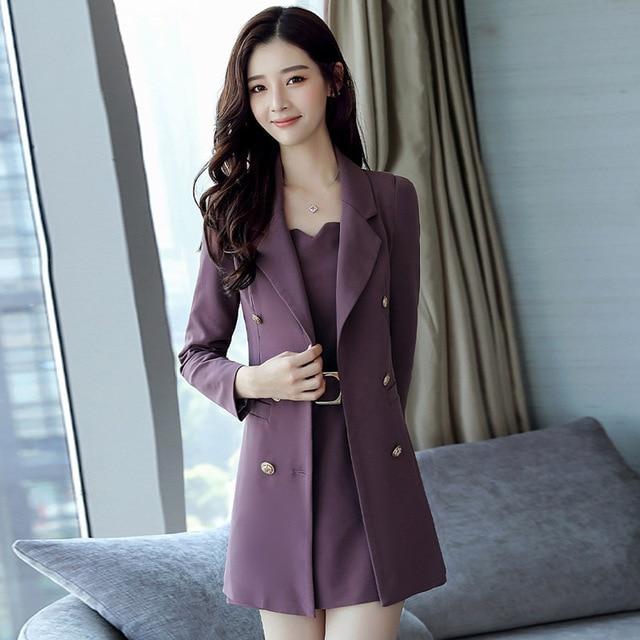 Autumn Business Suit Elegant Office Dress Lady Work 2 Pieces Set Long Sleeve Blazer and Sleeveless Dress Suit Set 2