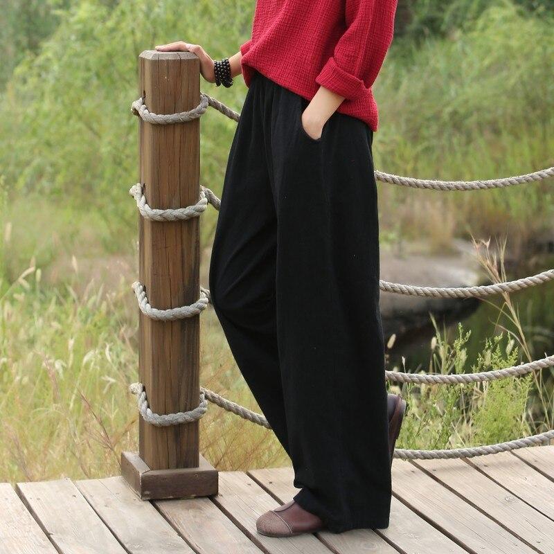 new arrival spring summer   wide     leg     pants   loose solid color elastic waist casual   pants   long trousers plus size pantalon