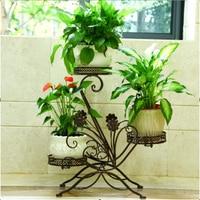 European style balcony  wrought iron flower pot Shelf flower pot Convenient moved a flower pot pot pan pot ceramicpotted annuals -