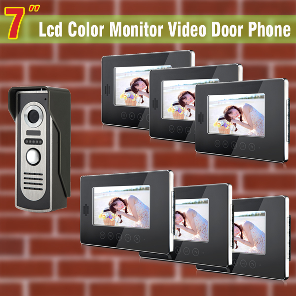 7 Inch Monitor Video Door Phone Intercom Doorbell Kits 1V6 Video DoorBell DoorPhone Intercom System Night Vision alloy camera 7 inch video doorbell tft lcd hd screen wired video doorphone for villa one monitor with one metal outdoor unit night vision