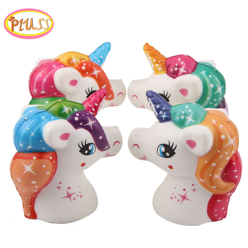 NEW 11CM Jumbo Unicorn Squishy Doll Unicorn Horse Head Squishy Slow Rising Stress Reliever Anti Stress Toys Mobile Phone Straps