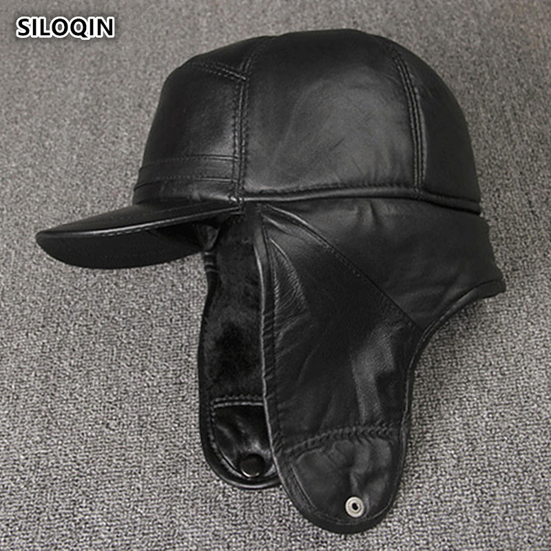 SILOQIN  Genuine Leather Hat High Quality Sheepskin Military Hats  Male Bone Middle Old Aged Winter Earmuffs Keep Warm Flat Cap