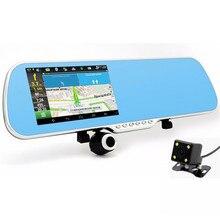 5.0 pulgadas de coches espejo retrovisor de la cámara táctil android dash cam coche dvr gps navigator wifi 1080 p de la lente dual video del vehículo grabadora