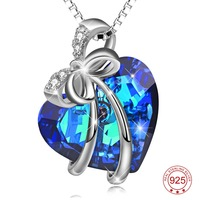 PYX0274 100 Real Pure 925 Sterling Silver Blue Heart Of Ocean Blue Crystal Pendant Necklace Crystal