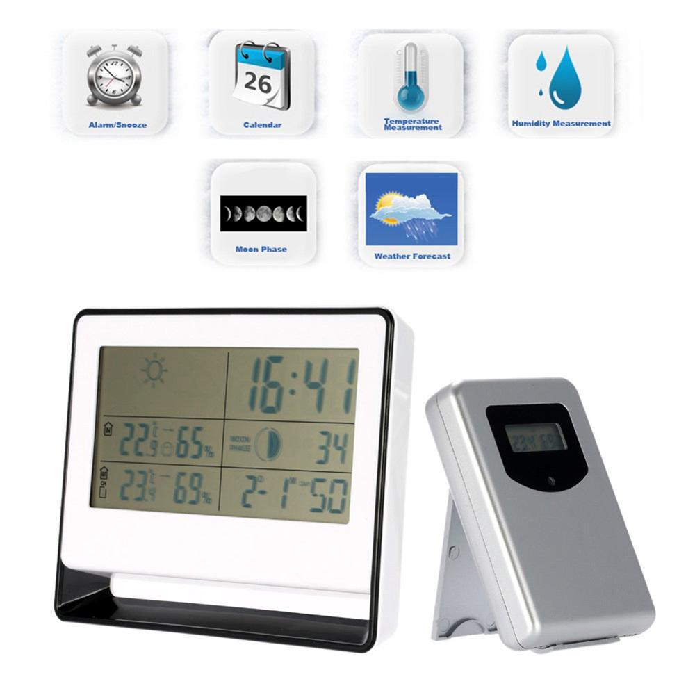 RF Receiving Weather Station Clock Digital Clock Indoor Outdoor Thermometer Hygrometer Calendar Moon Phase Desk Clock
