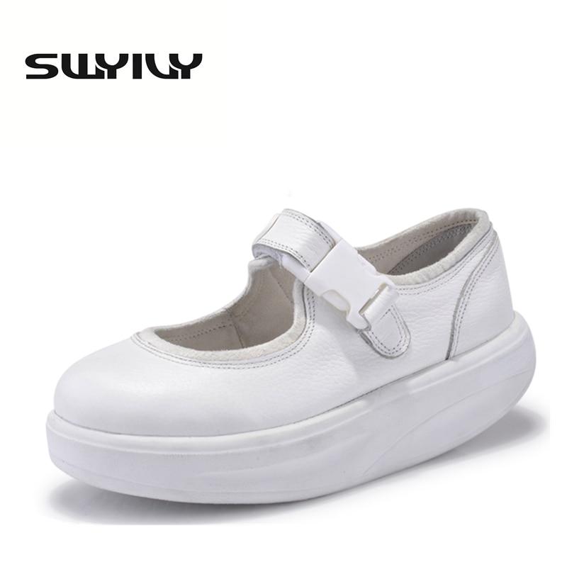 6e614cdd8 جلد طبيعي 4.5 سنتيمتر المرأة تتأرجح الأحذية باطن سميكة إسفين التنغيم  الأحذية جلد ينحل المرأة أحذية رياضية بيضاء ممرضة
