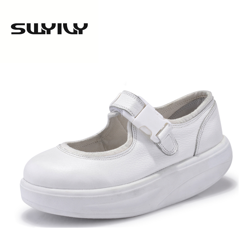 Äkta Läder 4.5cm Kvinnor Swing Skor Tjocka Solar Wedge Toning Shoes Lacing Slimming Women Sneakers White Nurse Shoes