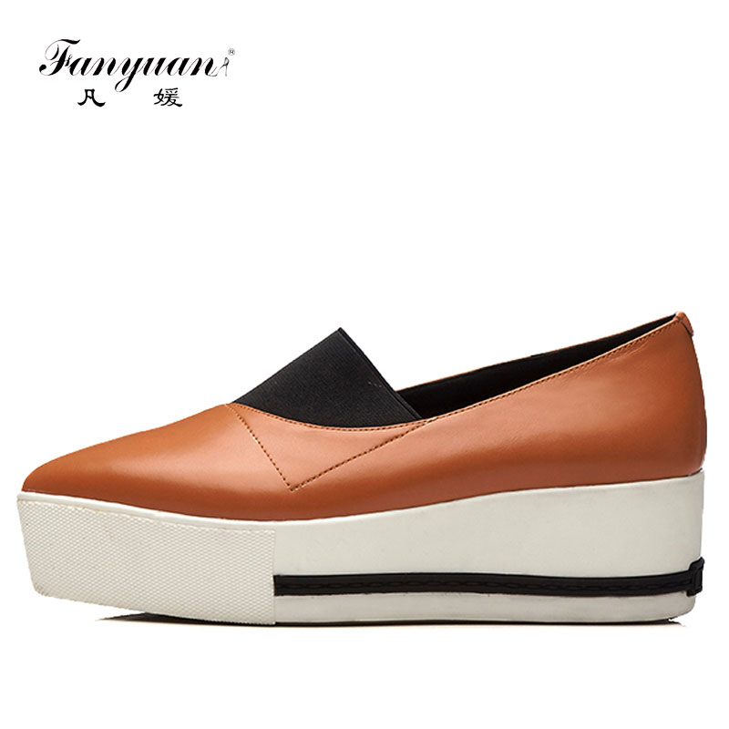 Fanyuan Women Flats moccasins Genuine Leather Shoes Woman Slip On Loafers Mix color Platform Flat Shoe white black Walking shoes pinsen women flat platform shoes woman moccasin zapatos mujer platform sandals slip on for ladies shoes casual flats moccasins