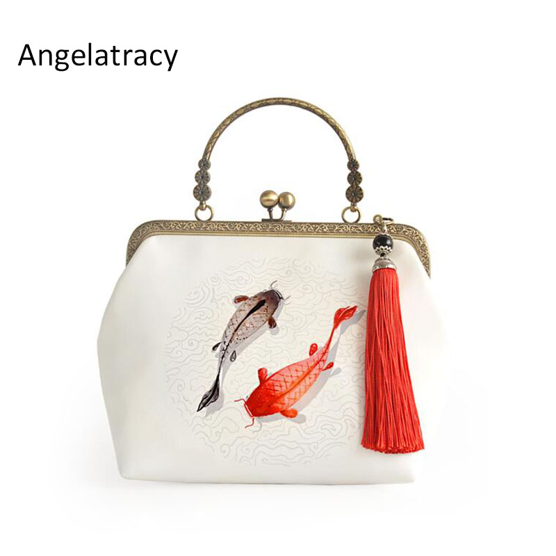 Angelatracy Ikan Rumbai Rantai Putih Gaya Cina Cheongsam Beg Cross-Body Bags Mulut Emas Cell Phone Pocket Handbag Tote Bags
