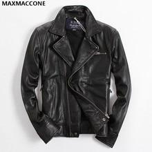 2018 Black Men s Biker Leather Jacket Diagonal Zipper Genuine Sheepskin Slim Fit Russian Leather Motorcycle