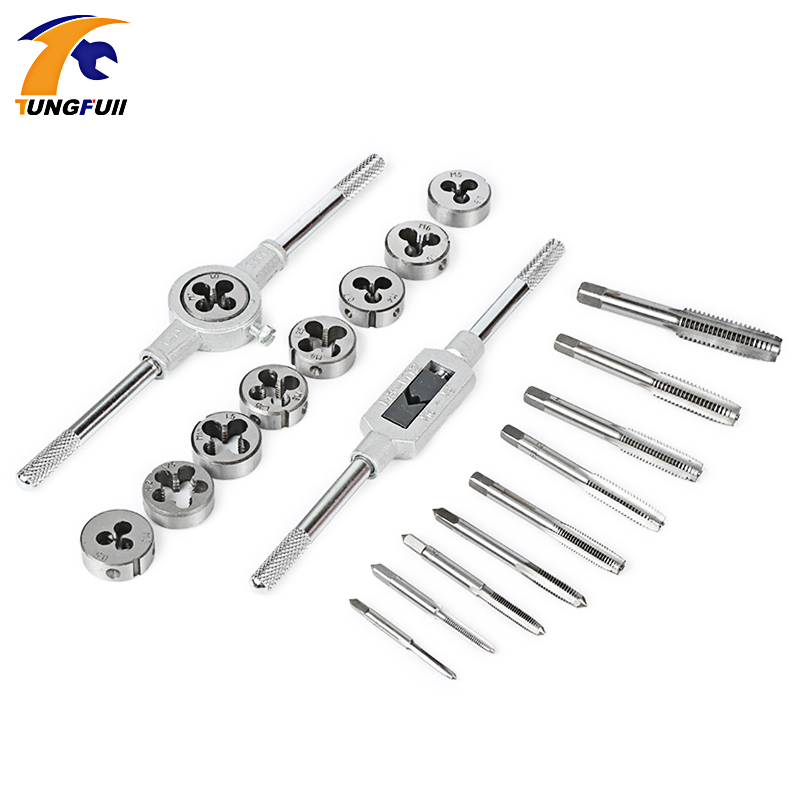 TUNGUFULL 20pcs Inch or Metric system Tap Dies Set 1/2''-6''NC Screw Thread Plugs Taps Carbon Steel Hand Screw Taps Hand Tools diy carbon steel oval frame cutting dies